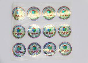 China Shining Tuna Food Laser Label Sticker , Die Cut Shape Self Adhesive Laser Labels on sale