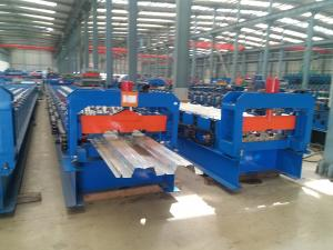 China Double 1.5  Inch Chains Steel Metal Decking Tile Sheet Roll Forming Making Machine on sale