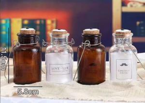 China Cork And Iron Handle Glass Candle Jars For Light Bulb / Brown Glass Container on sale