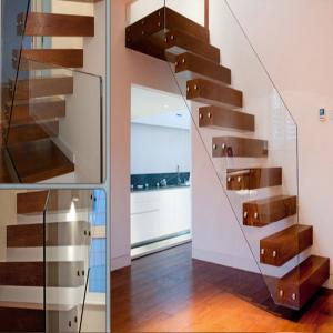 China Prefabricated Indoor Staircase Wooden Floating Indoor wooden stairs on sale