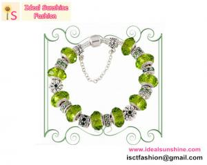 China Fashion sterling Silver green beads bracelet with European charm beads bracelet on sale
