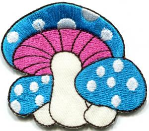 China Kids Embroidered Custom Iron On Patches Applique Mushroom Butterfly on sale