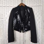 Lapel Buttoned Ladies Black Sequin Blazer Fashionable For Night Club Party