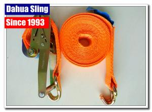 China 10000 Lbs 2  Mini Ratchet Tie Down Straps With Zinc Plated Welded Wire Hook on sale