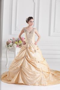 China Sexy Yellow Deep V Neck Taffeta Quinceanera Ball Gown with Beads , Different Sizes on sale