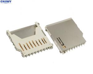 China Gold Plated Micro Sd Card Holder , Full Copper Long Sd Memory Card Connector on sale