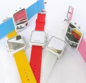 China silicone mirror watch on sale