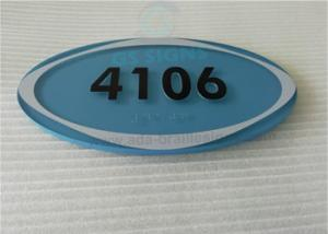 China Oval ADA Room Signage Number Signs One Piece 1/4 Acrylic Panel With Braille on sale