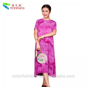 Plus Size Chinese Summer Clothes , Cotton Linen Dress With ...