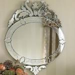Crown Design Hanging Venetian Wall Mirror 55 * 83cm Size Custom Shape / Color