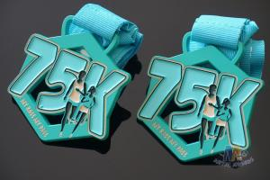 China My Race 75K Marathon Custom Metal Sports Medals, Spray Pontan Colors And With Printing Ribbon on sale