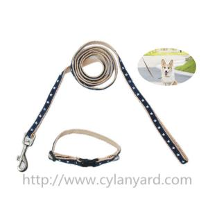 China Wholesale patterned webbing dog collars and leads, woven logo polyester dog lead lanyard, on sale