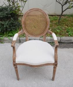 Quality Hotel Furniture Used Upholstered Solid Wood Dining Room Arm Chair Wooden Banquet Ratten Cane