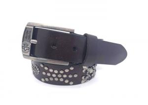 China Casual Cowhide Mens Leather Studded Belt For Jeans / Punk Rock Rivets Belt With Buckle on sale