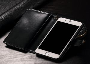 China Multiple Viewing Angles Leather Phone Case / Black Apple Iphone Wallet Cover on sale