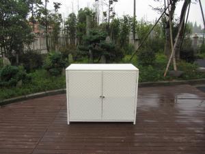 China Resin Wicker Storage Box , Aluminum Frame White Rattan Cabinet on sale