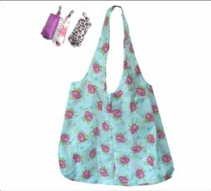 Quality eco friendly foldable reusable nylon shopping bags with printing flower for sale