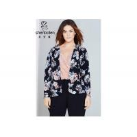 Trendy Floral Print Plus Size Ladies Clothing For Young Women Open Front Waterfall Jacket