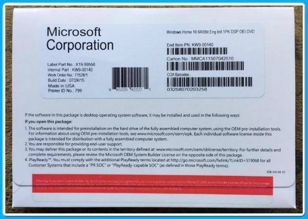 Microsoft Windows 10 Pro Software Home 32bit 64 Bit DVD oem pack
