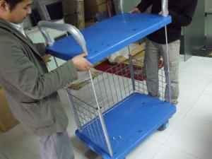 China Two Layers Folding Storage Cart Warehouse Trolley Cart On Wheel For Goods Storing on sale