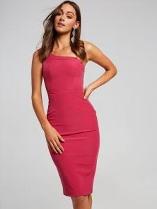 China custom made plain pink one shoulder beautiful girl sexy bodycon party dress on sale