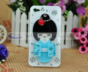 China Rhinestone Bling Kimono Girl Cellphone iPhone 4 Diamond Covers Case on sale