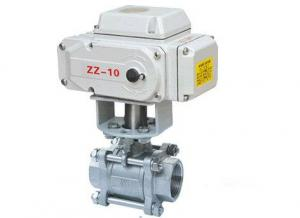 China Full Bore 3 Piece Stainless Steel Ball Valves Threaded With Electric Actuator on sale