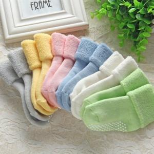 China Wholesale knitted newborn baby cotton terry winter anti slip grips socks on sale