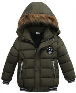 China Fashionable Kids Hooded Puffer Jacket , Plain Dyed Boys Down Winter Coat on sale