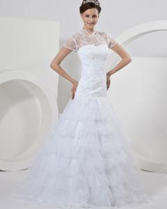 Quality Short Sleeve illusion lace back Wedding Dresses Beaded / layered wedding gowns for sale