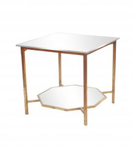 China Two layer coffee table with mirror top in gold metal framed gold finsh for wholesale on sale
