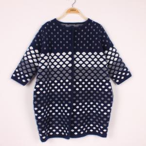 China Classic womens Casual Sweaters Dots Striped  Customized Cardigan Knitwear Dots Pattern on sale