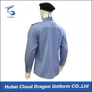 China Custom Blue Security Shirt  With Comfortable 100% Cotton / Mens Long Sleeve Shirts on sale