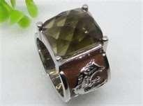 China Emerald handmade jewelry Semi Precious Stone Stainless Steel  Rings  with gold Plating supplier