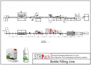 China Liquid Bottle Filling Line With Bottle Capping Machine And Double Side Labeling Machine on sale