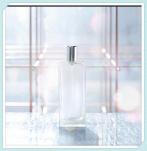 China 50ml Flat Glass Perfume Spray Bottles Fine Mist  Make Up Atomizer Container on sale
