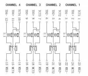 24 Pins Gigabit Ethernet Transformer , 10G Bit Speed