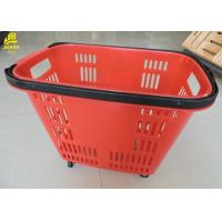 China 33L Shopping Basket With Wheels And Handle PU Wheels Red Colour Can Custom Logo on sale
