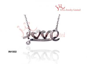China 925 Sterling Silver Necklace With Diamond-Cut cz  ,18 Inch Chain Love Necklace Bracelet on sale