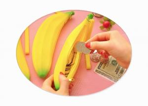 China Cute Banana Small Silicone Pencil Case / Korean Mini Silicone Coin Purse For Student on sale