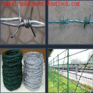 China Barbed Wire Roll Price Fence /Single/Double Twisted Galvanized Barbed Iron Wire Fencing /hot-dipped galvanized barbed wi on sale