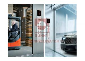 China Checked Steel Plate Floor Freight Elevator Car Decoration With Large Space on sale