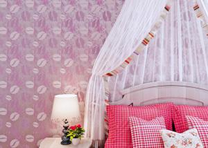 China Bedding Room Purple Modern Removable Wallpaper For Bedroom Walls , Moisture Proof on sale