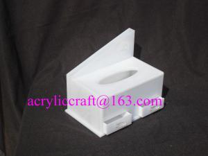 China White acrylic tissue box hotel lucite napkin holder with drawer on sale