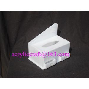 China White acrylic tissue box hotel lucite napkin holder with drawer supplier