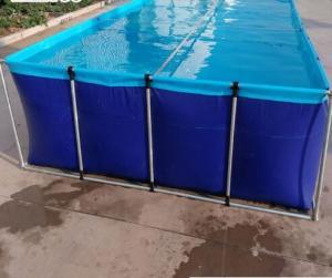 China SGS Blue Laminated Tarpaulin Fish Tank Fire Retardant For Aquaculture Fish Farming on sale