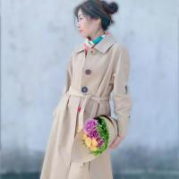 China Sigle-Breasted Trench Coat Women Spring Autumn Long Belted Colorful Button Coat on sale