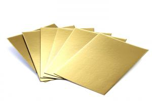 China Metalized Shiny Gold Foil Cardboard Laminated Grey Board Gold Paper Cake Boards on sale