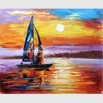 Impressionism Sunrise Seascape Oil Paintings Palette Knife Sailboat Flexible