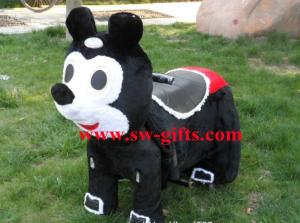 China kids' electric bike riding toys,motorized plush riding animals,plush sit on animals toys on sale